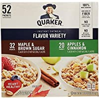 Quaker Instant Oatmeal Flavour Variety Maple & Brown Sugar & Apples & Cinnamon 52 Individual Sachet Box 2.07kg