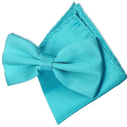 LABEL-CRAVATE Noeud papillon bleu-turquoise et sa pochette-mouchoir