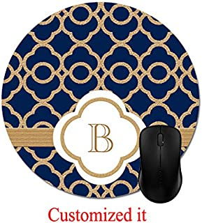 Sapphire and Gold Moroccan Monogrammed Mouse Pad Stylish Office Computer Accessory 8in