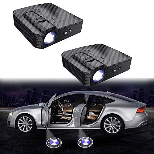 MIVISO 2 Stücke Autotür Led Logo Projektor Licht Drahtlose Lampe Willkommen Ghost Shadow Licht (Verbessert Kein Magnet)