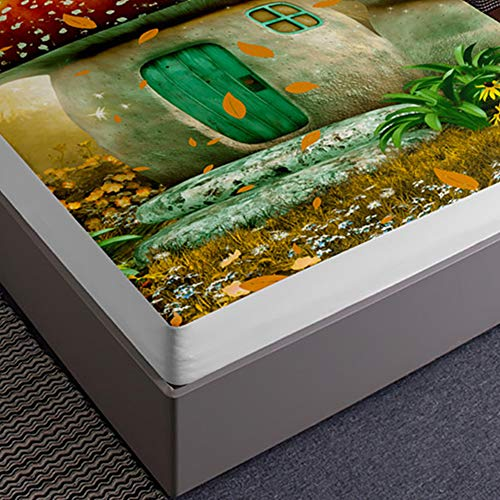 3D Sábana Bajera Ajustable Colchones Decorativa, Chickwin Champiñón Impresión Suave Cómoda Transpirable Microfibra Tela- Elástico en el Borde Bolsillo Profundo 30cm (Casa,140x200x30cm)