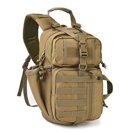 Tactical Assault Sling Pack Military Molle Hunting Range Shoulder Sling Bug Out Bag Backpack Daypack Khaki