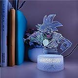 Lámpara De Ilusión 3D Luz De Noche Led Anime Office Pilot Goku Figura Ventiladores Para Niños Regalo Habitación Casa Hotel Decoración Iluminación