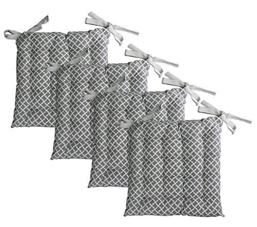 Unity Chair Pads - Cotton Canvas - Value 4 Pack - Fits 15' Chair - Southwest Diamond Pattern - Classic Design (Ecru)