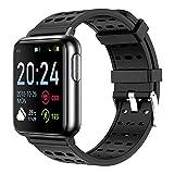 bangbangxing Smartwatch ECG Y PPG Electrocardiograma Frecuencia Cardíaca Monitorización De Oxígeno Ejercicio De Ejercicio De Mano Anillo De Mano Impermeable V5 Sport Black y Pure Black