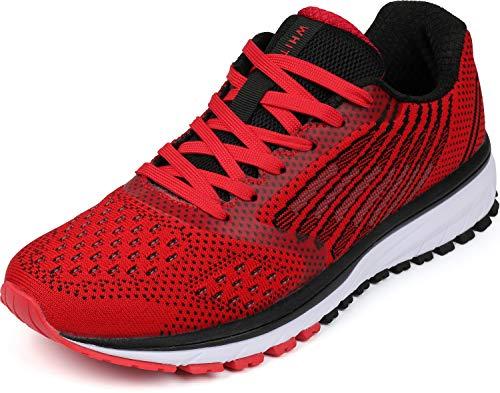 WHITIN Herren Sneakers Damen Turnschuhe Laufschuhe Frauen Walkingschuhe Hallenschuhe rutschfest Joggingschuhe Sportschuhe Joggen Fitness Schuhe Rot Größe 41