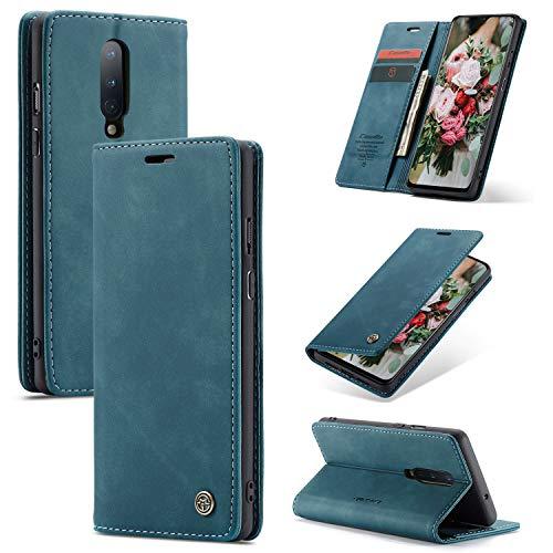 FMPC Handyhülle für Oneplus 8 Premium Lederhülle PU Flip Magnet Hülle Wallet Klapphülle Silikon Bumper Schutzhülle für Oneplus 8 Handytasche - Blaugrün