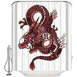D-M-L Polyester-Badezimmer-Duschvorhänge Standard, Japanische Drache-Abbildung Tatsu-Symbol-Heiliges Volksedles Monster-Thema-wasserdichte Badewannen-Vorhänge 122X183CM