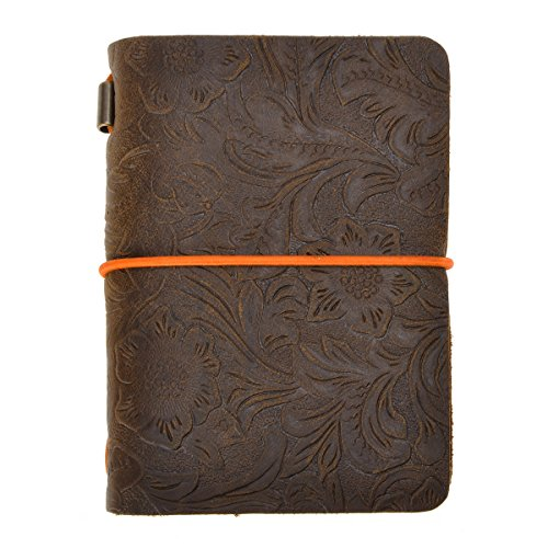 ZLYC Vintage Handmade Refillable Leather Flowers Emboss Travelers Journals Diary Notepad Notebook£¬Passport Size