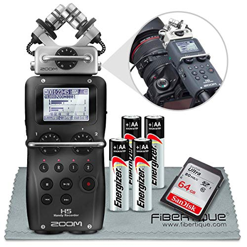 Zoom H5 4-Input / 4-Track Portable Handy Recorder Basic Bundle W/ 16 GB, Batteries & FiberTique Cleaning Cloth