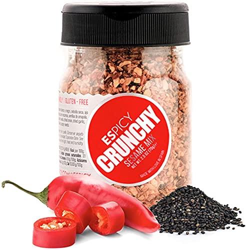 ESPICY - Crunchy Sesame Mix 70 g | Sazonador Picante a base de Sésamo, Chili, Cebolla y Ajo Secos, Semillas de Amapola y Sal | Salado y Crujiente | Hecho en España | Picor: 4/10