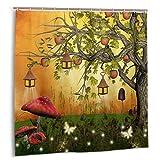 FQWEDY Duschvorhang, W&erlandwald mit Feen Schmetterlinge Elfen Apfelbaum Magisches Universum Badevorhang Set mit Haken