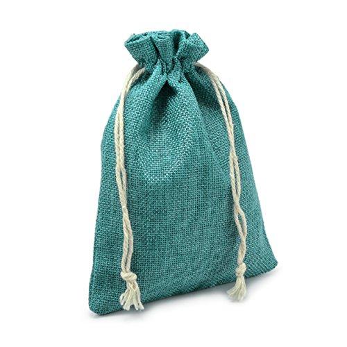 Ganzoo 24er Set Jutesäckchen für Adventskalender zum selbst befüllen, 17,5cm x 12,5cm, Jutebeutel, Stoffbeutel, Natur Säckchen, Geschenksäckchen, Sack, Beutel – Marke (Dunkelgrün)