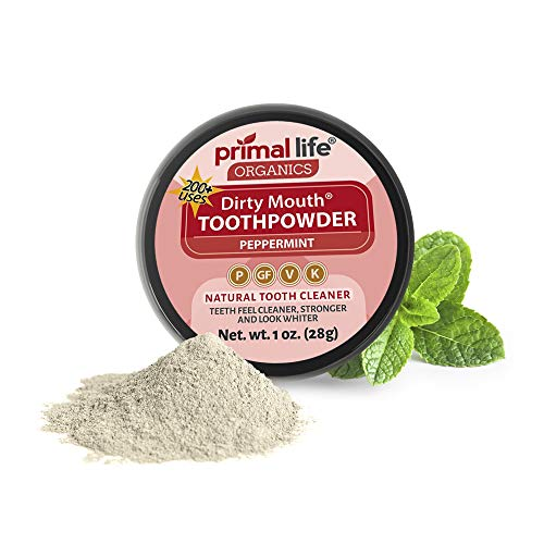 Dirty Mouth Tooth Powder for Teeth Whitening, Toothpaste Powder Teeth Whitener with Essential Oils and Bentonite Clay, 200 uses, Peppermint Flavor (1 oz) - Primal Life Organics