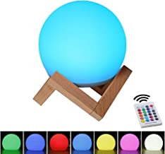 BLUEYE LED Ball Night Light:5-Inch LED Bedside Mood Lamp with stand,Seamless housing & remote control, Portable LED Lantern with folded handle for Kids,16 RGBW colors LED moon lamp for home decoration