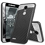 TJS Case Compatible with LG Stylo 4 2018/Stylo 4 Plus/Q Stylus/Q Stylus Plus/ Q Stylus Alpha Phone Case, [Full Coverage Tempered Glass Screen Protector] Carbon Fiber Built-in Metal Plate Back (Black)