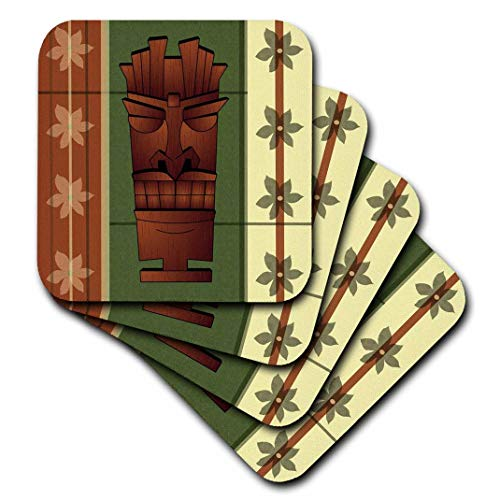 3dRose CST_77490_3 Untersetzer, Holzmaserung, Tropische Tiki-Maske, Hawaii-Blumen, grün und cremefarben, 4 Stück