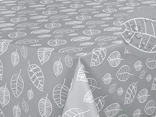 Mantel Antimanchas, Resistente a Líquidos 100% poliéster, Rectangular 140 x 200cm Hojas Gris Claro