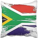 Xinli Shop Funda de Almohada Africana Bandera sudafricana Grunge Johannesburgo Cultura Traducción Economía Cojín Funda de Almohada