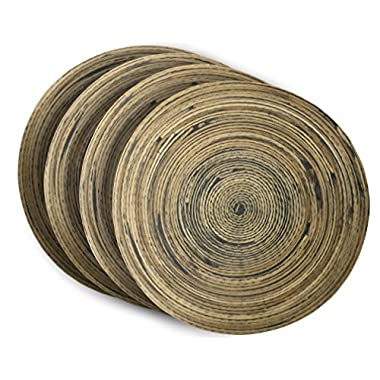 Spun Bamboo Coasters for Drinks with Non-Skid Backing (Set of 4)