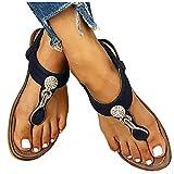 Reokoou Summer Sandals for Women Flat Flip Flops Thongs Clip Toe Slip On Elastic T-Strap Bohemia Beach Slippers