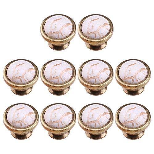 POXL Pomelli per Mobili, 10Pz Marmo Mobili Manopola Pomelli Ceramica Pomello per Cassetto/Armadi/Armadio, 37x37x33mm