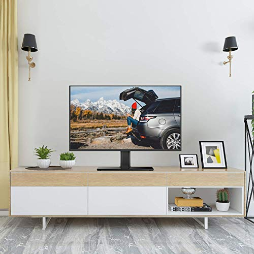 PERLESMITH Universal TV Stand - Table Top TV Stand for 37-55 inch LCD LED TVs - Height Adjustable TV Base Stand with Tempered Glass Base