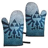 BarbaraHagen Legend Of Zelda - Guantes de horno resistentes al calor, doble soporte para horno con diseño antideslizante de silicona para el hogar y la cocina, guantes aislantes del calor (juego de 2)