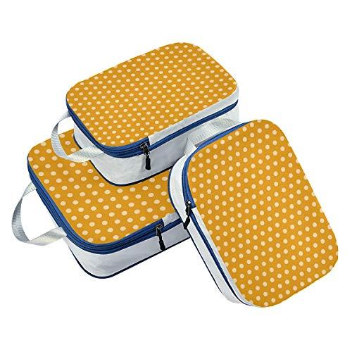 DEZIRO Buff Lunares Fondo Amarillo Embalaje Cubos 3 Piezas Organizador De Viaje Accesorios