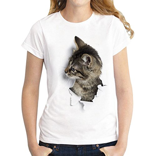 LAEMILIA Damen T-Shirt Bluse Weiß Boyfriend Stil Baumwolle mit Modern Druck Shirt Tops Hemd (EU40/42=Tag XL, 5)