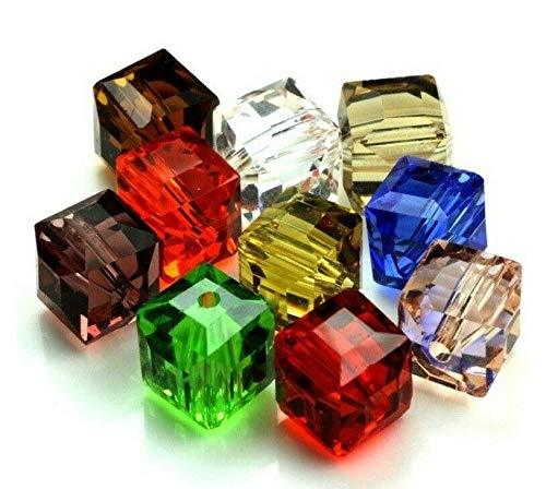 Perlin - Glasperlen Kristall Perlen Bunte Mix Set 4mm 6mm 8mm Würfel Böhmisch Tschechische Glasschliffperlen Perle mit Loch zum auffädeln (4mm x 4mm 75 Stück)