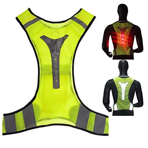 OUTERDO Warnweste,LED Reflektierende Weste,Sicherheitsweste mit LED reflektierenden Streifen für Outdoor-Aktivitäten in der Nacht