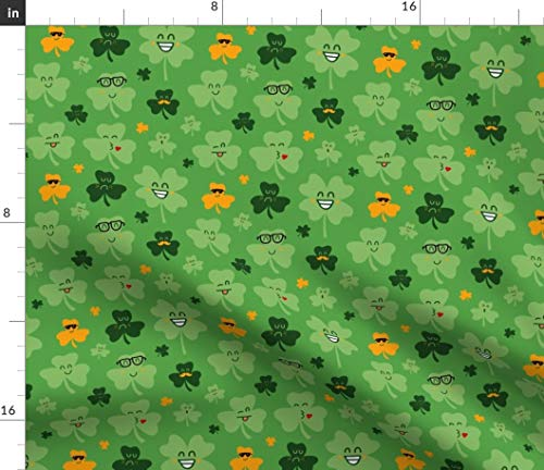 Spoonflower Fabric - Shamrock Luck Clover Patrick Shamrocks Green Faces Printed on Fleece Fabric by The Yard - Sewing Blankets Loungewear and No-Sew Projects