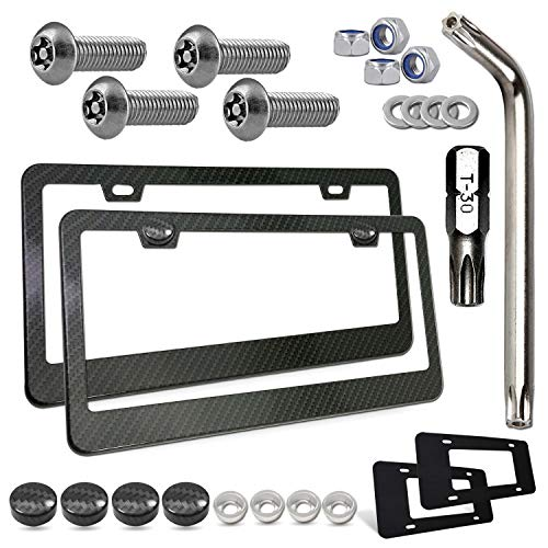 Carbon Fiber License Plate Frame- Black Aluminum Anti Theft Car Tag Holder, Universal Heavy Duty Cover with Security Screws for Front Rear, Stainless Steel Machine bolts Fasteners, Lock Nut, Caps