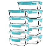Paquet de 10 contenants de préparation de repas rectangulaires en verre, (370nl + 1040 ml) de conservation des aliments en verre sans BPA avec couvercles hermétiques pour le déjeuner, bleu acier