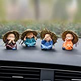 Lintimes Monk Car Crafts Decoration,Cute Small Kung Fu Creative Resin Little Monks Straw Hat for Car Dashboard,Home Office,Interior Desk Decor,4 Packs