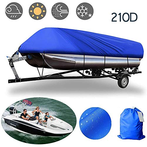 BODOGY-KB Polyester Oxford Boat Cover, V-Shaped Boat with Towable Sun Protection and UV Protection Boat Cover Suitable for All Weather Conditions 4 Sizes to Choose from,14 to 16ft