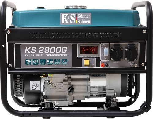 LPG/Benzin-Generator KS 2900G der DUAL FUEL-Serie, notstromaggregat gas 2900 W, 2x16A (230 V), 12 V, stromerzeuger mit (AVR), stromaggregat mit Ölstandsanzeige, Überlast- und Kurzschlussschutz.