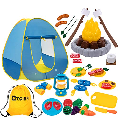 MITCIEN Kids Camping Play Tent with Toy Campfire / Marshmallow /Fruits Toys Play Tent Set for Boys Girls Indoor Outdoor Pretend-Play Game