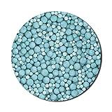 Alfombrilla de mouse turquesa para computadoras, canicas cubiertas en el suelo, bolas de perlas, esferas en diferentes tamaños, ilustraciones, alfombrilla de mouse redonda antideslizante de goma grues