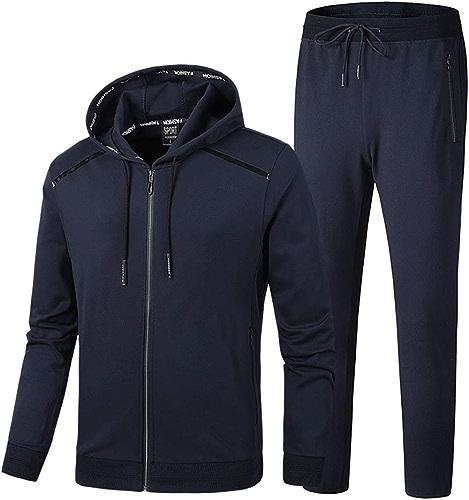ZWYY SurvêteHommest de Sport à Manches Longues pour Homme avec Pantalon et Veste de Sport 2 pièces Bleu Taille XL
