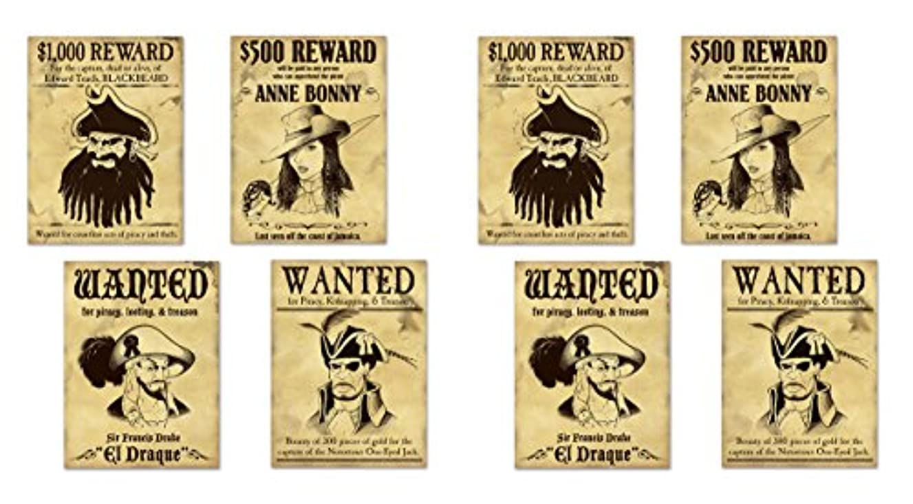 Beistle 59910 8 Piece Pirate Wanted Sign Cutouts, 15.25