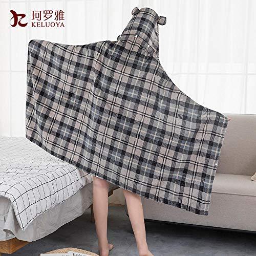 Buygo Flannel Blanket Cloak Shawl Cartoon Blanket Soft Breathable Autumn And Winter Office Lunch Break Blanket Gray Style 300 Gm2150cm100cm Hat