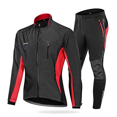 NUCKILY Herren Fahrradbekleidung Set Winddicht Thermo Fleece Winterjacke MTB Bekleidung Rennrad Fahrrad Trikot Langarm und Fahrradhose mit 3D Sitzpolster (ME020 Rot, L)