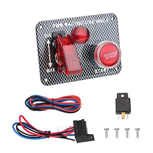 JIAQING El panel del interruptor de encendido de 12V LED LED interruptor de palanca de la fibra de carbono Ajuste de la fibra de carbono para competir con el motor del motor del motor del botón ACCESO