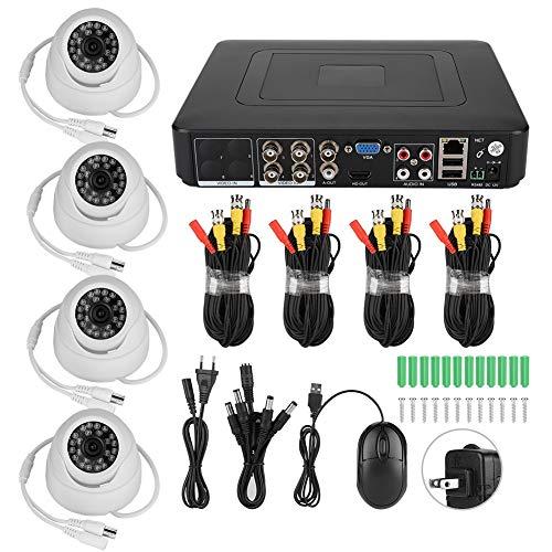 Cámara de seguridad de 4 canales, kit de píxeles de seguridad para sistemas de seguridad para el hogar, sistema AHD(100-240V US regulations)
