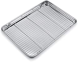 WEZVIX Large Baking Sheet with Cooling Rack Stainless Steel Baking Tray Cookie Sheet Oven Tray Pan 50 x 35 x 3 cm, Rust...