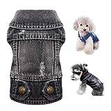 WEARTER Dog Jean Jacket, Denim T-Shirt Apparel Fit for Small Medium Dogs Cats Vest, Black Vintage Machine Washable Dog Puppy Clothes