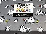 Sheet Peanuts Snoopy and Woodstck Snowman Twin Set