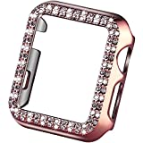VIQIV Bling Protective Face Bumper Case Cover for Compatible with Apple Watch 38mm 42mm 40mm 44mm, Crystal Diamond Plate Frame Compatible with Apple iWatch Series 5 4 3 2 1 Rose Pink